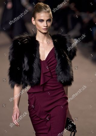 Russian Model Anna Selezneva Takes to the Catwalk During the Presentation of Lebanese Fashion Designer Elie Saab's Fall-winter 2010 Ready-to-wear Collection During the Paris Fashion Week in Paris France 10 March 2010 the Fashion Week Ran From 02 March to 10 March France Paris