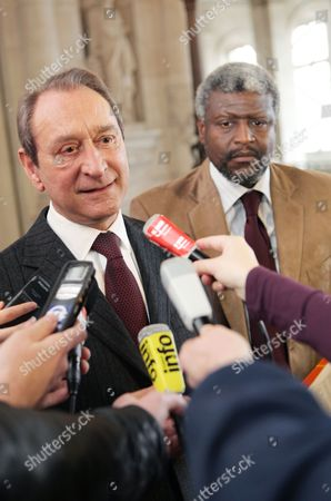 Paris Mayor Bertrand Delanoe (l) Adresses the Media with Haitian Mayor of Port Au Prince Jean Yves Jason (r) at the Hotel De Ville in Paris France 23 February 2010 Delanoe Announced 1 5 Million Euros in Aid For Rebuilding the City of Port Au Prince Which was Devastated in the Magnitude 7 Earthquake That Hit Haiti on 12 January 2010 France Paris