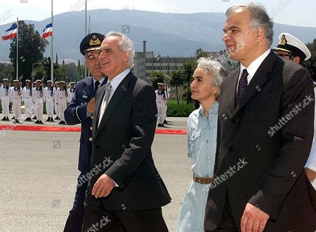 Athens Greece:yugoslav Minister of Defense Slobodan Krapovic (r) and His Greek Counterpart Akis Tsochatzopoulos Procced For Their Talks During the Official Welcome Ceremony in Greek Ministry of Defense Wednesday 16 May 2001