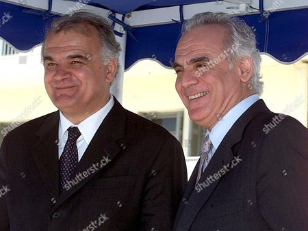 Athens Greece : Greek Minister of Defense Akis Tsochatzopoulos (r) and His Yugoslav Counterpart Slobodan Krapovic (l) Smile While Chatting During the Official Welcome Ceremony at the Greek Ministry of Defense Wednesday 16 May 2001