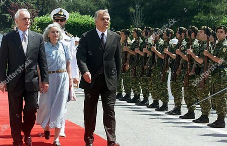 Athens Greece: Greek Minister of Defence Akis Tsochatzopoulos (l) and His Yugoslav Counterpart Slobodan Krapovic (r) Inspect the Honour Guard During the Official Welcome Ceremony at the Greek Ministry of Defence Wednesday 16 May 2001