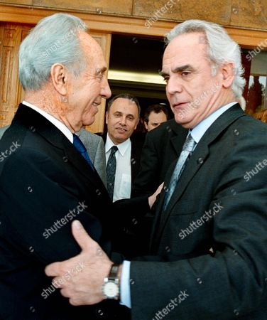 Athens Greece : Greek Defence Minister Akis Tsochatzopoulos (r) and Israeli Foreign Minister Shimon Peres (r) After Their Meeting in Athens on Wednesday 04 April 2001 (film)