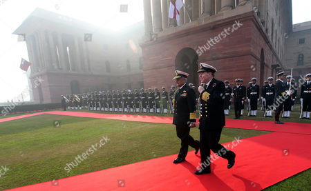 Chief of British Naval Staff Admiral Sir Mark Stanhope (r) Chats with Indian Navy Chief Admiral Nirmal Verma (l) During a Welcome Ceremony and Prior to a Meeting in New Delhi on 31 January 2011 the British Navy Chief is on an Official Visit to India India New Delhi