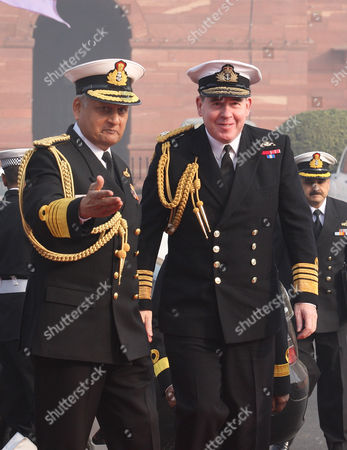 Chief of British Naval Staff Admiral Sir Mark Stanhope (r) with Indian Navy Chief Admiral Nirmal Verma (l) Prior to a Meeting in New Delhi on 31 January 2011 the British Navy Chief is on an Official Visit to India India New Delhi