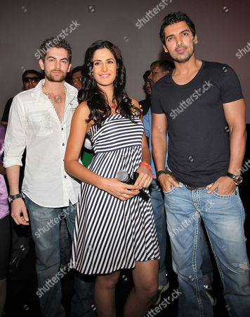 Bollywood Actors and Cast Members Neil Nitin Mukesh (l) Katrina Kaif (c) and John Abraham (r) Pose For Photographs During a Promotional Event For Indian Director Kabir Khan's Film 'New York' in the Southern Indian City of Bangalore 24 June 2009 the Movie Tells the Story of Three Young Friends Whose Lives Take an Unexpected Turn After the 9/11 Terror Attacks in Usa India Bangalore