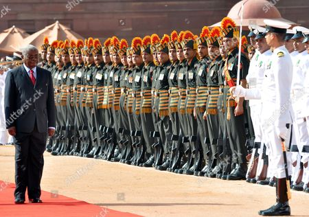 President of the Republic of Mozambique Armando Emilio Guebuza (l) Inspects the Guard of Honor During a Welcoming Ceremony at the Presidential Palace in New Delhi India on 30 September 2010 President Armando Emilio Guebuza is on a Four Day Official Visit to India India New Delhi