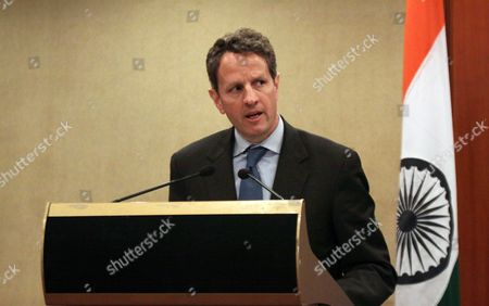 Us Treasury Secretary Timothy F Geithner Speaks During a Press Conference on the Launch of Expanded Us-india Financial and Economic Partnership in New Delhi India 06 April 2010 Geithner is in India on an Official Visit India New Delhi