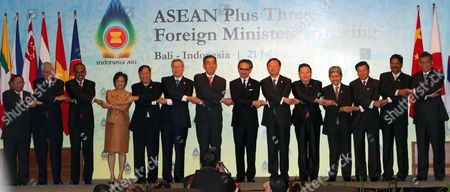 Asean Plus Three Foreign Ministers Pose Before Meeting Session at Nusa Dua Bali Indonesia 21 July 2011 Indonesia Host the 44th Asean Ministerial Meeting (amm) Post Ministerial Conference (pmc) and 18th Asean Regional Forum (arf) From 19 to 23 July (from R-l) Asean Secretary General Surin Pitsuwan Malaysian Deputy Foreign Minister Kohilan Pillay Lao Minister For Foreign Affair Thongloun Sisoulith Brunei Darussalam Foreign Minister Prince Mohamed Bolkiah Cambodia's Secretary of State Kao Kim Hourn China's Foreign Minister Yang Jiechi Indonesian Foreign Minister Marty Natalegawa Japan Foreign Minister Takeaki Matsumoto South Korean Foreign Affair and Trade Kim Sung-hwan Vietnam Foreign Minister Pham Gia Khiem Thailand's Deputy Permanent Secretary For Foreign Affairs Chitriya Pinthong Singapore Foreign Minister Shanmugam Philippines Foreign Minister Albert Del Rosario and Myanmar Foreign Minister Wunna Maung Lwin Indonesia Nusa Dua