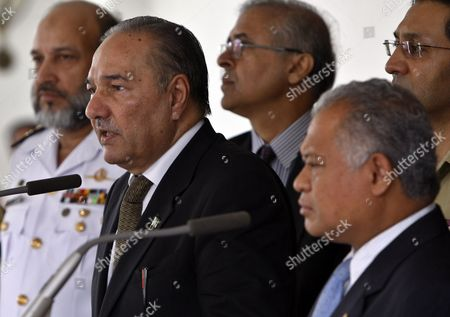 Pakistan's Defence Minister Chaudry Ahmad Mukhtar (l) Talks to Journalists As He is Accompanied by His Indonesian Counterpart Purnomo Yusgiantoro (r) During a Press Conference in Jakarta Indonesia 21 July 2010 Chaudry Ahmad Mukhtar is on an Official Visit Aiming to Enhance and Strengthen the Defence Relationships Between Both Countries Indonesia Jakarta