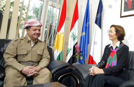 French Trade Minister Anne-marie Idrac (r) Meets with the President of Kurdistan Region Masoud Barzani (l) After the Opening Ceremony of the French House of Agriculture and Environment in Erbil Iraq on 1 November 2010 Iraq Erbil
