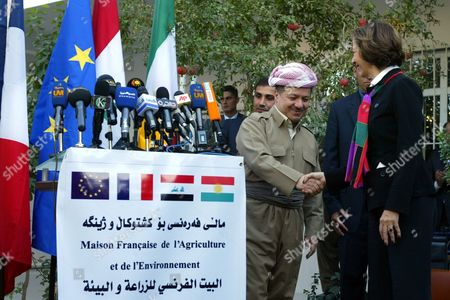 French Trade Minister Anne-marie Idrac (l) Shakes Hands with the President of Kurdistan Region Masoud Barzani (r) During the Opening Ceremony of the French House of Agriculture and Environment in Erbil Iraq on 1 November 2010 Iraq Erbil