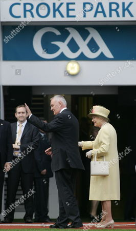 Queen Elizabeth Ii (r) Joins Gaa President Christy Cooney (c) at Croke Park Dublin During the Second Day of Her State Visit to Ireland 18 May 2011 Ireland Dublin