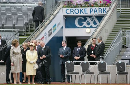 Britain's Queen Elizabeth Ii (3-l) and Irish President Mary Mcaleese (l) Listen to Gaa (gaelic Athletic Association) President Christy Cooney (4-l) at Croke Park in Dublin Ireland 18 May 2011 Queen Elizabeth Arrived on 17 May in Ireland For an Historic Four-day State Visit the First by a British Monarch Since Irish Independence Ireland Dublin