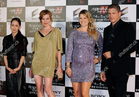 Cast Members Japanese Singer and Actress Mika Nakashima (l) Ukrainian-born Actress Milla Jovovich (2nd L) Us Actress Ali Larter (2nd R) and British Actor Wentworth Miller Pose During the World Premiere of Their Latest Movie 'Resident Evil: Afterlife' in Tokyo Japan 02 September 2010 the Sci-fi Action Movie is by British Director Paul W S Anderson and Stars Milla Jovovich Japan Tokyo
