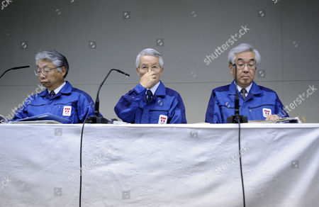 Tokyo Electric Power Co Chairman Tsunehisa Katsumata (c) Vice-presidents Sakae Muto (r) and Takashi Fujimoto (l) Attend to a News Conference at the Company Headquarters in Tokyo Japan 30 March 2011 Katsumata Said It Will More Than a Few Weeks to Fix the Fukushima Daiichi Nuclear Power Plant Earlier in the Day Tepco Announced That Its President Masataka Shimizu was Hospitalized on 29 March For Hypertension Katsumata is Taking Over Shimizu's Position to Lead Efforts to Control the Crisis Japan Tokyo