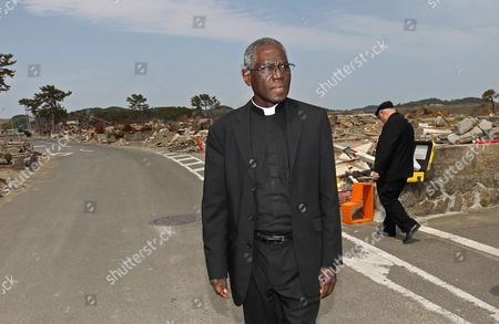 Cardinal Robert Sarah Visits the Affected Area of the Large Earthquake and Tsunami That Hit Northern Japan in March 2011 in Shichigahama Japan on 15 May 2011 Sarah is in Japan on Behalf of Pope Benedict Xvi to Visit the Earthquake-affected Area in Order to Encourage the Victims Japan Shichigahama