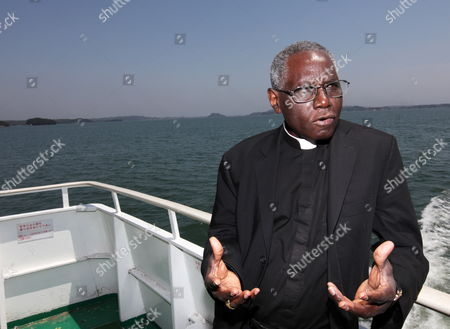 Cardinal Robert Sarah Travels on an Excursion Boat in Matsushima Miyagi Prefecture Japan on 16 May 2011 Sarah is on His Trip to Japan on Behalf of Pope Benedict Xvi to Visit the Earthquake-affected Area in Order to Encourage the Victims Japan Matsushima