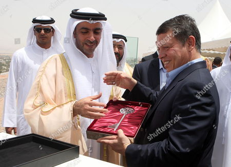 Jordan's King Abdullah Ii (r) and United Arab Emirates Deputy Prime Minister and Interior Minister Lt General Hh Sheikh Saif Bin Zayed Al Nahyan (l) During the Foundation Stone Laying Ceremony of Marsa Zayed at Aqaba City 350km South of Amman Jordan 27 May 2010 Marsa Zayed a 10 Billion Usd Marina Community That is the Largest Real Estate Project in Jordan's History Jordan Aqaba