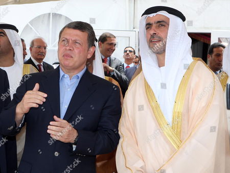 Jordan's King Abdullah Ii (l) and United Arab Emirates Deputy Prime Minister and Interior Minister Lt General Hh Sheikh Saif Bin Zayed Al Nahyan (r) Attend the Foundation Stone Laying Ceremony of Marsa Zayed at Aqaba City 350km South of Amman Jordan 27 May 2010 Marsa Zayed a 10 Billion Usd Marina Community That is the Largest Real Estate Project in Jordan's History Jordan Aqaba
