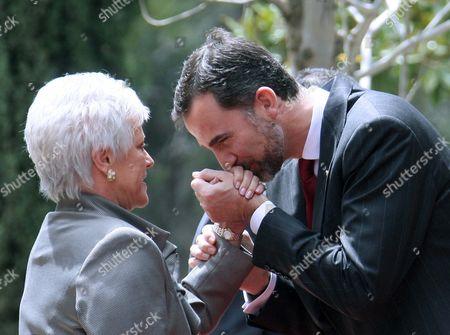 Spain's Crown Prince Felipe (r) Greets Princess Muna Al-hussein Mother of Jordanian King Abdullah Ii at the Basman Jordanian Palace in Amman 13 April 2011 the Spanish Royal Couple Will Be in Jordan Until 14 April 2011 Jordan Amman