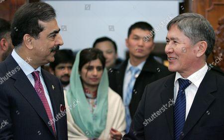 Pakistan's Prime Minister Yousaf Raza Gillani (l) Speaks with Kyrgyzstan's Prime Minister Almazbek Atambayev (r) During Their Meeting in Bishkek Kyrgyzstan 15 March 2011 Yousaf Raza Gillani is on an Official Visit in Kyrgyzstan Kyrgyzstan Bishkek