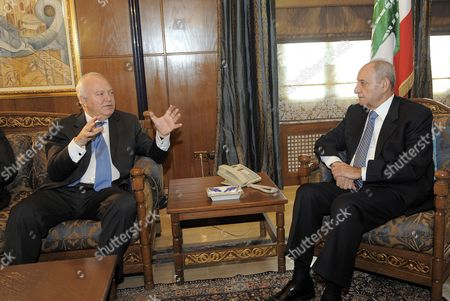 Lebanese Parliament Speaker Nabih Berri (r) Listens to Spanish Foreign Minister Miguel Angel Moratinos (l) During Their Meeting at Berris House in Beirut Lebanon 09 February 2010 Moratinos is Meeting Also Prime Minister Saad Hariri and His Lebanese Counterpart Ali Shami As Well As Progressive Socialist Party Leader Mp Walid Jumblatt on 09 Fenruary 2010 Lebanon Beirut