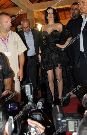 Lebanese Singer Haifa Wehbe (c) Arrives to Attend the 10th Murex D'or Awards Ceremony at Eddes Sands Resort in Northern Beirut Lebanon 10 June 2010 the Murex D'or Event is an Annual Award Festivity Honoring the Best Singer and Actor of Lebanese and Arab Artists in Various Fields of Performing Arts Lebanon Beirut