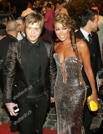 Lebanese Singer Maya Diab (r) and Lebanese Nicola Gebran (l) Arrives to Attend the 10th Murex D'or Awards Ceremony at Eddes Sands Resort in Northern Beirut Lebanon 10 June 2010 the Murex D'or Event is an Annual Award Festivity Honoring the Best Singer and Actor of Lebanese and Arab Artists in Various Fields of Performing Arts Lebanon Beirut