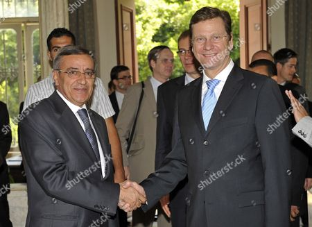 Lebanese Foreign Minister Ali Shami (l) Shakes Hands with German Foreign Minister Guido Westerwelle (r) Upon His Arrival at the Lebanese Foreign Ministry in Beirut Lebanon 22 May 2010 Westerwelle Arrived in Beirut on 21 May 2010 For Two-day Official Visit Lebanon Beirut