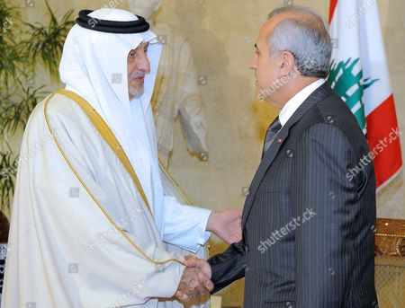 Saudi Prince Khaled Al-faisal Bin Abdul Aziz Al-saud Governor of Mecca (l) Shakes Hands with Lebanese President Michel Suleiman (r) at the Presidential Palace in Baabda East Beirut Lebanon 06 December 2010 Al-faisal in Beirut to Attends the Ninth Annual Conference to the Arab Thought Foundation's Fikr 9 on 08 and 09 December 2010 Lebanon Baabda