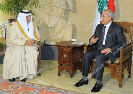 Saudi Prince Khaled Al-faisal Bin Abdul Aziz Al-saud Governor of Mecca (l) Meets with Lebanese President Michel Suleiman (r) at the Presidential Palace in Baabda East Beirut Lebanon 06 December 2010 Al-faisal in Beirut to Attends the Ninth Annual Conference to the Arab Thought Foundation's Fikr 9 on 08 and 09 December 2010 Lebanon Baabda