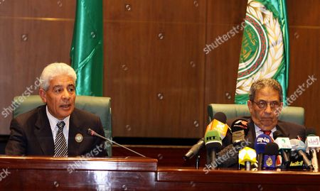 Stock Photo of Secretary General of the Arab League Amr Mussa (r) During a Joint Press Conference with Libyan Foreign Minister Mussa Kussa (l) at the End of the Arab Summit in Sirte Libya on 28 March 2010 Arab Leaders Met Behind Closed Doors to Thrash out a United Strategy Against Israel's Settlement Policy As the Jewish State Accused Them of Lacking Moderation and Blocking Peace Efforts Libyan Arab Jamahiriya Sirte