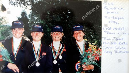 Gold Medal Team (l- r): Tina Gifford, Charlotte Bathe, Karen Dixon and Mary King (then Thompson), World Equestrian Games, The Hague, Netherlands 1994
