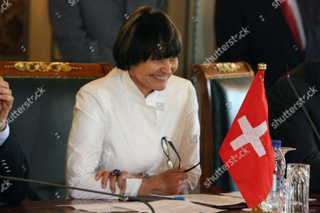 Stock Image of Swiss Foreign Minister Michelle Calmy-rey Smiles During an Agreement Signing Ceremony Between Switzerland and Libya with Her Libyan Counterpart Mousa Kousa (not in the Picture) in Tripoli Libya 13 June 2010 Calmy-rey and Her Spanish Counterpart Miguel Angel Moratinos Arrived in Tripoli Late 12 June Their Official Trip was Organized After the Release on 10 June of the Swiss Businessman Max Goeldi who was at the Centre of a Dispute Between Libya and Switzerland Calmy-rey and and Her Libyan Counterpart Moussa Koussa Signed an Agreement 13 June on the Relations Between the Two Countries According to Local Media Sources No Details of the Agreement Were Immediately Available Libyan Arab Jamahiriya Tripoli