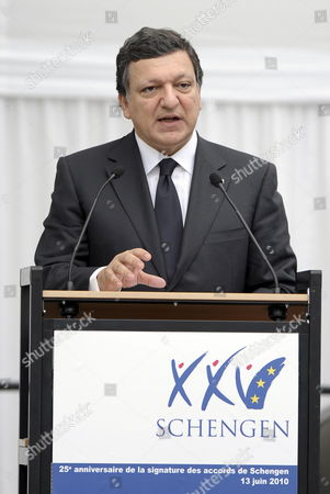 European Commission President Jose Manuel Barroso Delivers a Speech During the 25th Anniversary of the Schengen Treaty in Schengen Luxembourg 13 June 2010 the Schengen Agreement is a Treaty Signed in 1985 on the River-boat 'Princess Marie-astrid' Between Five of the Ten Member States of the European Community Luxembourg Schengen