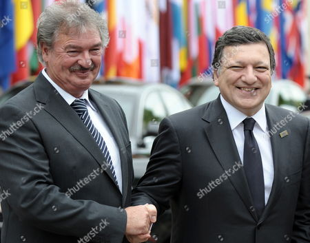 Luxembourg's Foreign Minister Jean Asselborn (l) Welcomes European Commission President Jose Manuel Barroso (r) During 25th Anniversary of the Schengen Treaty in Schengen Luxembourg 13 June 2010 the Schengen Agreement is a Treaty Signed in 1985 on the River-boat 'Princess Marie-astrid' Between Five of the Ten Member States of the European Community Luxembourg Schengen