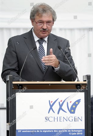 Luxembourg's Foreign Minister Jean Asselborn Delivers a Speech During the 25th Anniversary of the Schengen Treaty in Schengen Luxembourg 13 June 2010 the Schengen Agreement is a Treaty Signed in 1985 on the River-boat 'Princess Marie-astrid' Between Five of the Ten Member States of the European Community Luxembourg Schengen