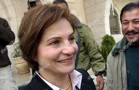 Hind Khoury Newly Appointed Palestinian Cabinet Minister Leaves Prime Minister Ahmed Qureia's Office For a Meeting at the Palestinian Legislative Council (plc) in the West Bank Town of Ramallah Thursday 24 February 2005 For Presenting a New Cabinet For a Ratification Vote