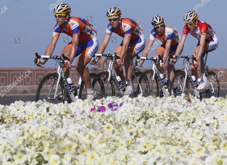Rabobank Team Rider Robert Gesink of the Netherlands ( R) Cycles with His Rabobank Team Mates Bram Tankink of the Netherlands (2nd R) Lars Boom of the Netherlands (c) and Maarten Tjallingii of the Netherlands (l) During the 5th Stage of the Tour of Oman Cycling Race in Mattrah Seafront Oman 20 February 2011 Rabobank Team Rider Robert Gesink of the Netherlands Won the 2011 Tour of Oman Htc - Highroad Team Rider Mark Cavendish of Great Britain Won the 5th Stage Epa/guillaume Horcajuelo Oman Mattrah