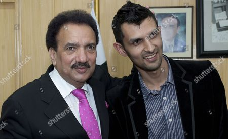 Stock Picture of Pakistan's Interior Minister Rehman Malik (l) with Pakistani Cricketer Zulqarnain Haider in Islamabad Pakistan on 25 April 2011 Upon Haider's Return From Britain Following an Assurance That the Pakistani Government Has Assured to Provide Fool Proof Security to Him and His Family Zulqarnain Haider the Former Pakistani Wicketkeeper Fled to Britain From Dubai in November 2010 During a One-day International Cricket Series Against South Africa Saying Hed Received Death Threats From Match Fixers Pakistan Islamabad