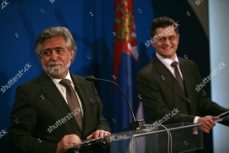 Portugal Minister of Forigin Affairs Luis Amado (l) Talking Talking on the Press Conferense with His Caunterpart Serbian Minister of Forigin Affairs Vuk Jeremic (r) in Belgrade Serbia 22 March 2011 Serbia and Montenegro Belgrade