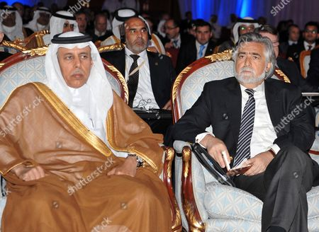 Qatari State Minister For Foreign Affairs Ahmed Bin Abdullah Al-mahmud (l) and Portuguese Foreign Minister Luis Amado (r) Attend the Opening Session of Doha Forum and Enriching the Middle East Economic Future Conference at Sheraton Hotel in Doha Qatar on 09 May 2011 Qatar Doha