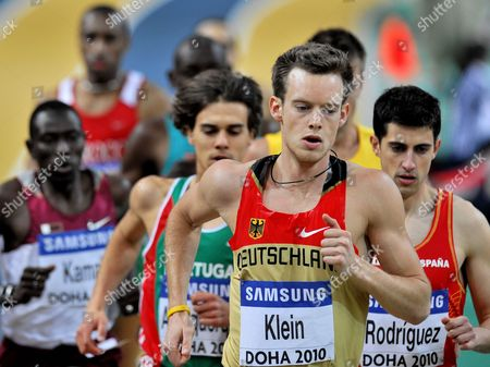 Christian Klein of Germany (c) Leads the Pack During the Men's First Round in the 1500m During Day 1 of the Iaaf World Indoor Championships 2010 at the Aspire Dome in Doha Qatar on 12 March 2010 Qatar Doha