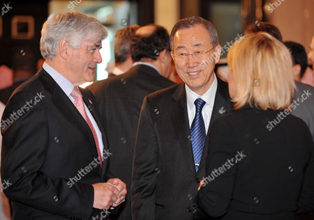 United Nations Secretary General Ban Ki-moon (c) Smiles As He Talks with the Secretary-general of the European External Action Service Pierre Vimont (l) and Danish Foreign Minister Lene Espersen (r) Prior to the International Contact Group on Libya Meeting at Ritz Carlton Hotel in Doha Qatar on 13 April 2011 According to Media Sources the Libya Contact Group Called For Muammar Gaddafi's Departure From Power and Agreed on a Funding Mechanism For Opposition Forces While Stressing That a Political Solution was the Only Way out of the Crisis in the North African Country the Group Also Called For an Immediate End to All Attacks on Civilians and a Complete Withdrawal of Gaddafi's Forces From Libyan Cities Qatar Doha