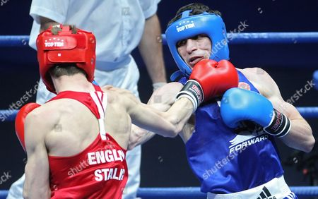 Thomas Stalker (l) of Great Britain Fights with Albert Selimov (r) of Russia During the Final of the Lightweight 60kg Fight of the European Boxing Championships in Moscow Russia 12 June 2010 Lightweight Tom Stalker Lost 8-4 Russian Federation Moscow