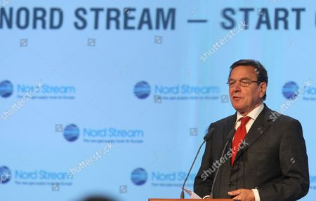 Gerhard Schroder Chairman of the Shareholders Committee of Nord Stream Delivers a Speech During Ceremony of Beginning Construction of Nord Stream Offshore Pipeline in Vyborg Russia 09 April 2010 Nord Stream Plan to Bring Natural Gas From Russia to Germany Via a Pipeline Under the Baltic Sea It Will Comprise Two Lines Each Approximately 1 220km in Length with a Combined Capacity of 55 Billion Cubic Meters a Year with European Gas Import Needs Projected to Grow by About 200 Billion Cubic Meters by the Year 2025 Nord Stream Will Meet About 25 Per Cent of This Additional Requirement After Completion in 2012 the Pipeline Through the Baltic Sea Will Connect the Worlds Largest Gas Reserves Located in Russia with the European Gas Pipeline Network Securing Natural Gas Supplies For the Continental Over the Coming Decades Russian Federation Vyborg