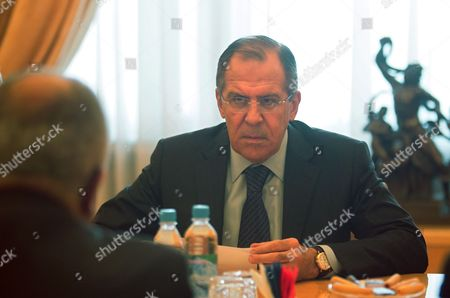 Stock Photo of Russian Foreign Minister Sergei Lavrov (r) Talks to United Nations Special Envoy on Libya Abdelilah Al-khatib (l) During Their Meeting in Moscow Russia 16 May 2011 Russian Federation Moscow
