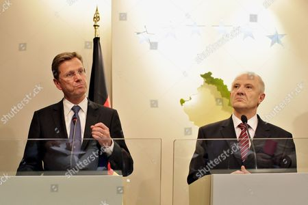 German Foreign Minister Guido Westerwelle (l) and Kosovo's President Fatmir Sejdiu (r) Talk to Media Following Their Meeting in Pristina Kosovo 27 August 2010 Serbia and Montenegro Pristina