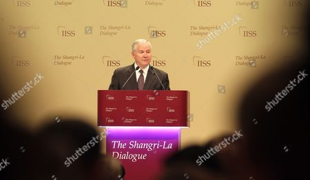 U S Defense Secretary Robert M Gates Delivers His Speech at the Shangri-la Dialogue in Singapore on 04 June 2011 Mr Gates Marked His Imminent Departure From Government with a 'Valedictory Speech on Lessons Learned in Asia' During the 10th Asia Security Summit in Singapore Singapore Singapore