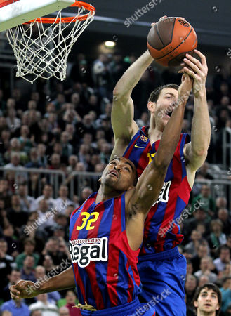 Alan Anderson and Fran Vazquez of Barcelona in Action During Their Euroleague Top 16 Match Union Olimpija Vs Barcelona on 27 January 2011 in Ljubljana Slovenia Slovenia Ljubljana